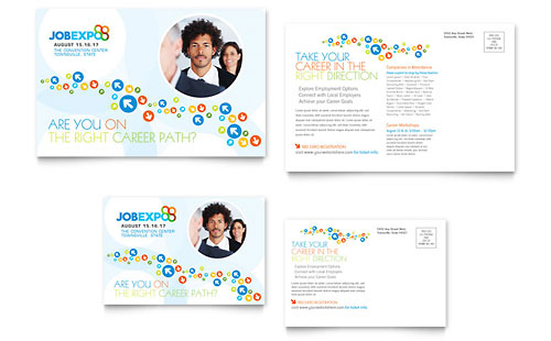 Job Expo & Career Fair Postcard Template - Microsoft Office