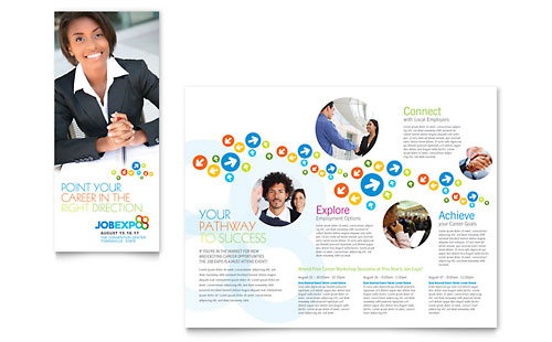 Job Expo & Career Fair Tri Fold Brochure Template - Microsoft Office