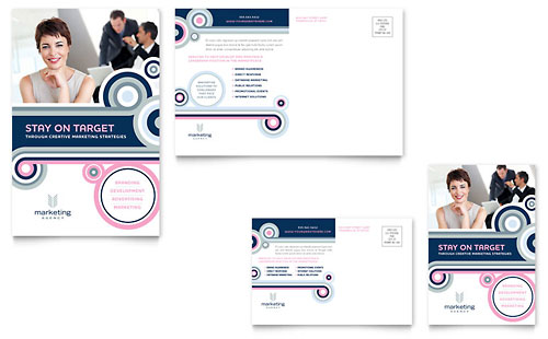 Marketing Agency Postcard Template Design