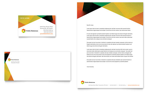Public Relations Company Business Card & Letterhead Template - Microsoft Office