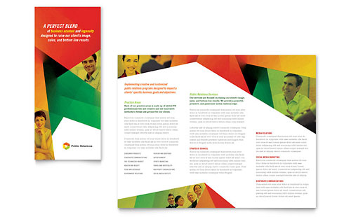 Public Relations Company Tri Fold Brochure Template