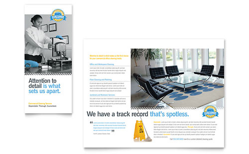 Janitorial & Office Cleaning Tri Fold Brochure Template - Microsoft Office