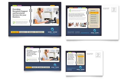 Secretarial Services Postcard Template - Microsoft Office
