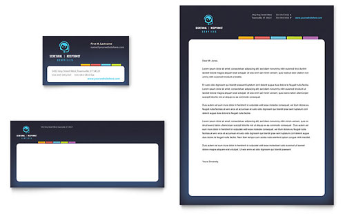 Secretarial Services Business Card & Letterhead Template - Microsoft Office