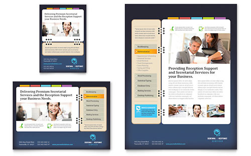 Secretarial Services Flyer & Ad Template - Microsoft Office