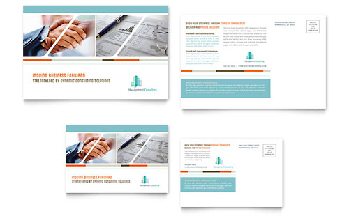 Management Consulting Postcard Template Design