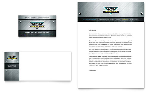 Locksmith Business Card & Letterhead Template - Microsoft Office