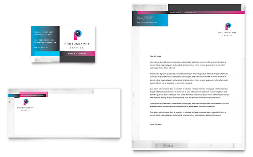 Photography Business Business Card & Letterhead Template - Microsoft Office