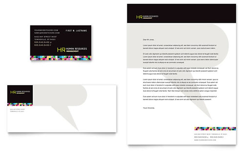 Human Resource Management Business Card & Letterhead Template - Microsoft Office
