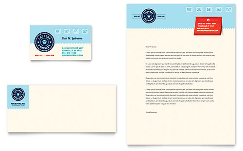 Laundry Services Business Card & Letterhead Template - Microsoft Office