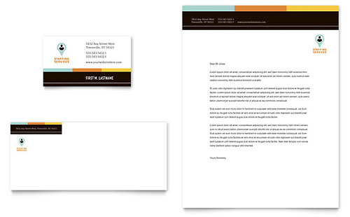 Recruiter Business Card & Letterhead Template - Microsoft Office