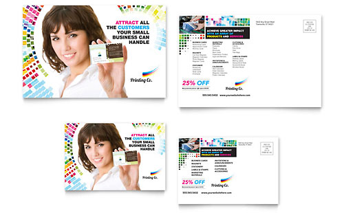Printing Company Postcard Template - Microsoft Office