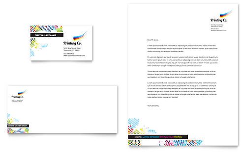 Printing Company Business Card & Letterhead Template - Microsoft Office