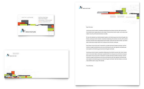 Architectural Design Business Card & Letterhead Template - Microsoft Office