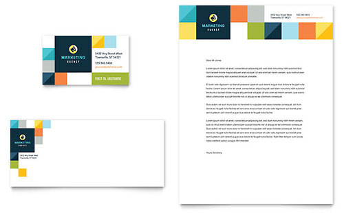 Advertising Company Business Card & Letterhead Template - Microsoft Office