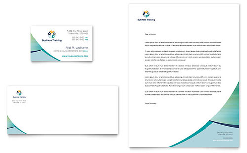Business Training Business Card & Letterhead Template - Microsoft Office