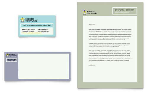 Business Consultants Business Card & Letterhead Template Design