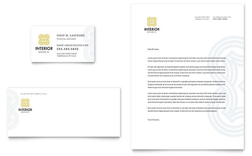 Interior Design Business Card & Letterhead Template - Microsoft Office