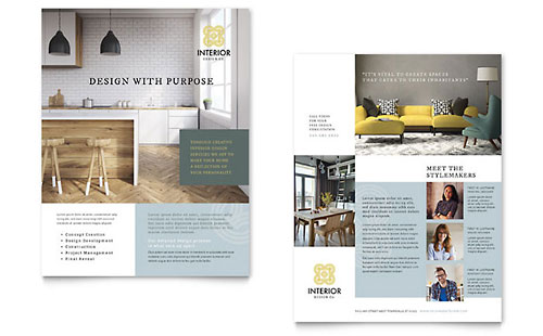 Interior Design Datasheet Template Design