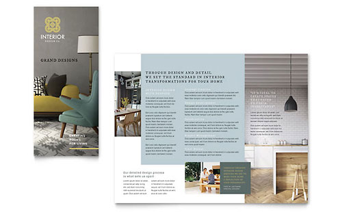 Interior Design  Furniture  Brochure Templates  Word  Publisher