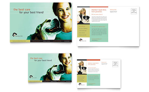 Veterinary Clinic Postcard Template - Microsoft Office