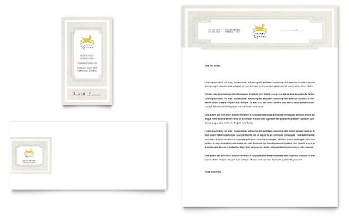 Pet Hotel & Spa Business Card & Letterhead Template - Microsoft Office