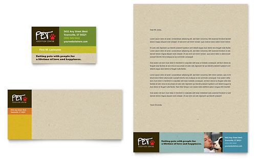 Animal Shelter & Pet Adoption Business Card & Letterhead Template - Microsoft Office