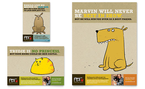 Animal Shelter & Pet Adoption Flyer & Ad