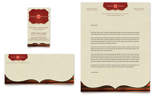 Horse Riding Stables & Camp Business Card & Letterhead Template Design