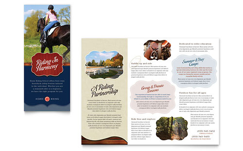 Horse Riding Stables & Camp Tri Fold Brochure Template Design