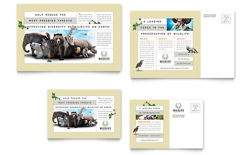 Nature & Wildlife Conservation Postcard Template - Microsoft Office