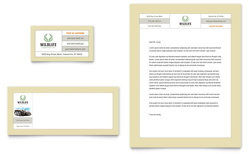 Nature & Wildlife Conservation Business Card & Letterhead Template - Microsoft Office