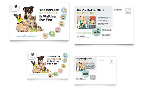Pet Store Postcard Template - Microsoft Office