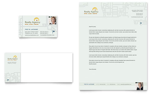Real Estate Agent & Realtor Business Card & Letterhead Template Design