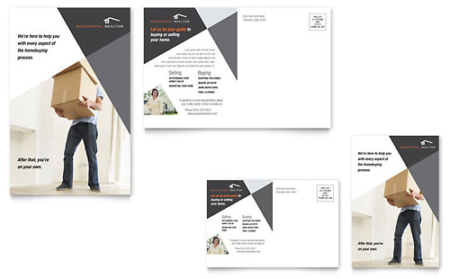 Contemporary & Modern Real Estate Postcard Template - Microsoft Office