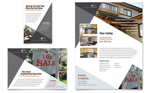 Contemporary & Modern Real Estate Flyer & Ad Template - Microsoft Office