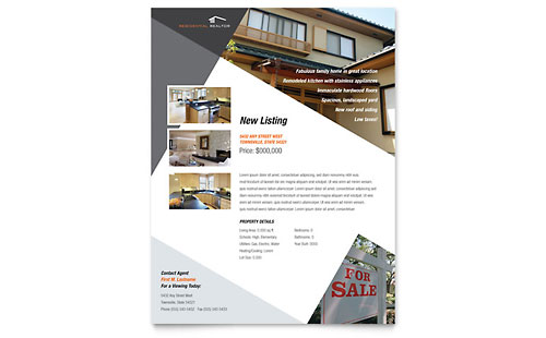 Contemporary & Modern Real Estate Flyer Template - Microsoft Office