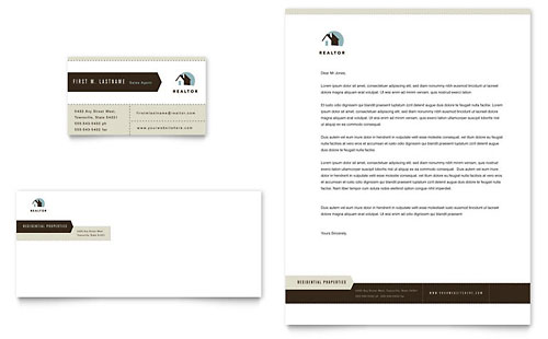 Residential Realtor Business Card & Letterhead Template - Microsoft Office