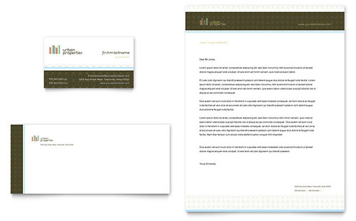 Urban Real Estate Business Card & Letterhead Template - Microsoft Office