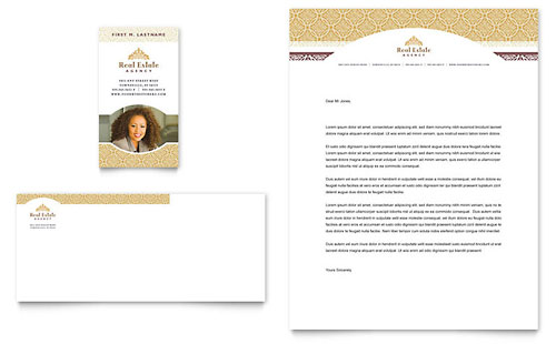 Luxury Real Estate Business Card & Letterhead Template - Microsoft Office