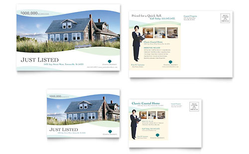Coastal Real Estate Postcard Template - Microsoft Office