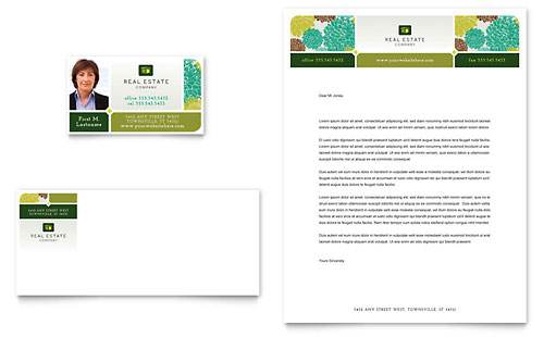 Real Estate Business Card & Letterhead Template - Microsoft Office