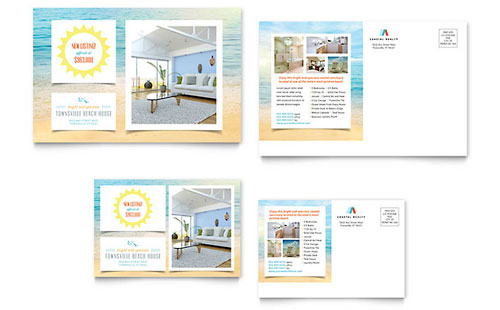 Beach House Postcard Template - Microsoft Office