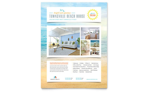 Beach House Flyer Template - Microsoft Office