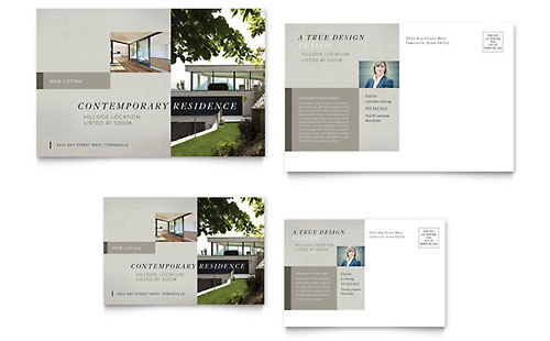 Postcard · Suburban Real Estate Postcard Template   Microsoft Office  Free Postcard Templates Microsoft Word