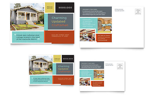 Craftsman Home Postcard Template - Microsoft Office