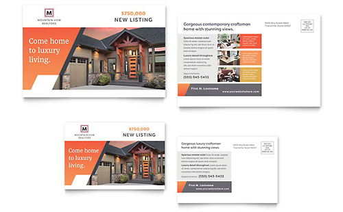 Mountain Real Estate Postcard Template - Microsoft Office