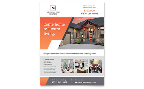 Mountain Real Estate Flyer Template - Microsoft Office