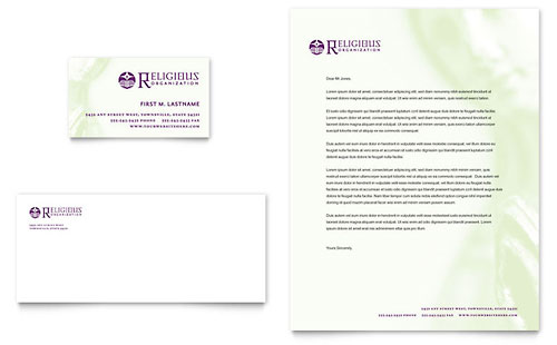 Catholic Parish and School Business Card & Letterhead Template - Microsoft Office