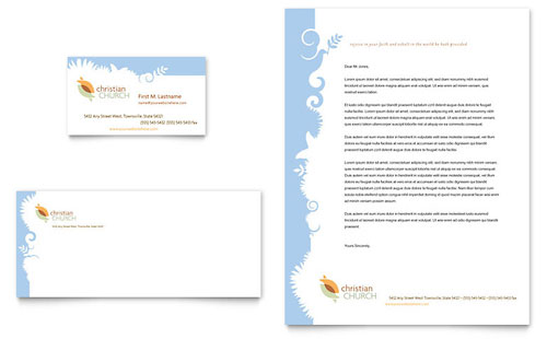 Christian Church Business Card & Letterhead Template Design
